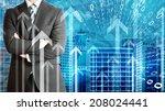 businessmen with skyscrapers ... | Shutterstock . vector #208024441