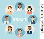 international teamwork.... | Shutterstock .eps vector #208033699