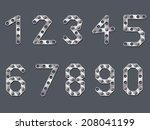drilled metallic numbers design ... | Shutterstock . vector #208041199