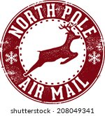 north pole air mail christmas... | Shutterstock .eps vector #208049341