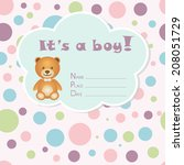 baby boy arrival card. baby... | Shutterstock .eps vector #208051729