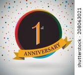1st anniversary poster  ... | Shutterstock .eps vector #208063021