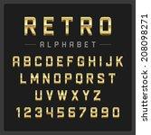 retro alphabet font. type... | Shutterstock .eps vector #208098271