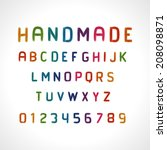 hand drawn alphabet font. type...   Shutterstock .eps vector #208098871