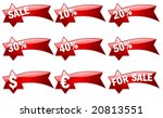 big 3d set of red price tags in ... | Shutterstock .eps vector #20813551