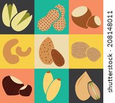 Edible seeds, nuts and beans collection / Vector illustration / Edible seeds, nuts and beans icons set / Flat design