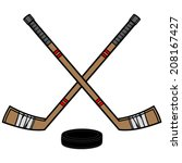 hockey sticks and puck | Shutterstock .eps vector #208167427