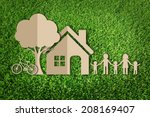 paper cut of family on green... | Shutterstock . vector #208169407