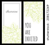 set of invitations with floral... | Shutterstock .eps vector #208172269