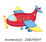 cute toy airplane  vector... | Shutterstock .eps vector #208190047