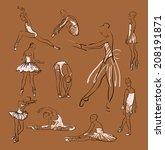 vector sketch of girl's... | Shutterstock .eps vector #208191871