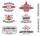 set of bakery labels  badges... | Shutterstock .eps vector #208216684