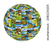 abstract globe formed by nature ... | Shutterstock . vector #208224205