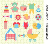 set of baby shower elements ... | Shutterstock .eps vector #208241029