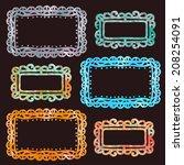 set watercolor rainbow frames... | Shutterstock .eps vector #208254091