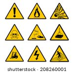 warning safety signs vector icon | Shutterstock .eps vector #208260001