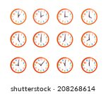 colorful wall clocks isolated... | Shutterstock . vector #208268614