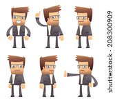 set of director character in different interactive  poses