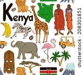 fun colorful sketch kenya... | Shutterstock .eps vector #208301851