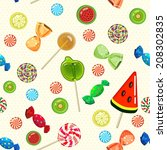 lollipops and candies seamless...   Shutterstock .eps vector #208302835