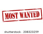 stamp with text most wanted... | Shutterstock .eps vector #208323259