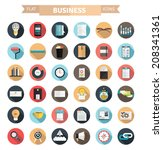set of flat business icons for... | Shutterstock .eps vector #208341361