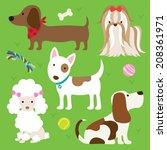 vector illustration of dogs... | Shutterstock .eps vector #208361971