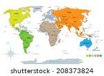 political world map on white... | Shutterstock . vector #208373824