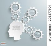 head with gears on the grey... | Shutterstock .eps vector #208377904