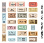 vintage tickets with different... | Shutterstock . vector #208408501