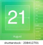 Daily vector calendar - August 21