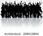 dancing people silhouettes | Shutterstock .eps vector #208413844
