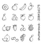 hand  painted fruit icons | Shutterstock .eps vector #208416175