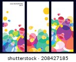 Set Of Three Vector Colorful...