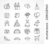 vector wedding icons  bride ... | Shutterstock .eps vector #208428964