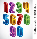 3d geometric numbers set in... | Shutterstock .eps vector #208435375