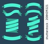 vector set of ribbons in flat... | Shutterstock .eps vector #208439221