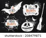 halloween set symbols pumpkin ... | Shutterstock .eps vector #208479871