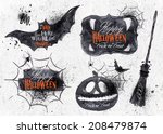 Stock vector halloween set drawn symbols pumpkin broom bat spider webs lettering and stylized drawing in 208479874