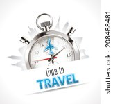 stopwatch   time to travel | Shutterstock .eps vector #208488481