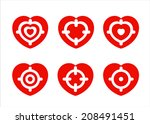 hearts with target. vector on...