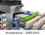computer motherboard color... | Shutterstock . vector #20851441