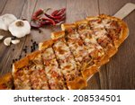 turkish pide beef and cheese... | Shutterstock . vector #208534501