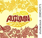 autumn pattern background... | Shutterstock .eps vector #208541971