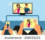 multiscreen interaction. man... | Shutterstock .eps vector #208553221
