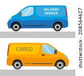 blue and orange delivery vans...   Shutterstock . vector #208564627