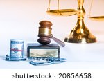 Wooden Justice Gavel And Block...