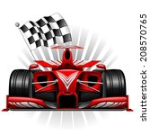 red race car with checkered flag | Shutterstock .eps vector #208570765