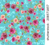 floral pattern on blue... | Shutterstock . vector #208571857
