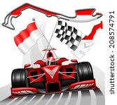 red race car gp monaco | Shutterstock .eps vector #208574791